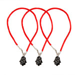 3 Black Hamsa Red String Bracelets with Shema Israel