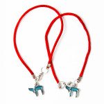 2 Red String Bracelets with Teal Chai pendants