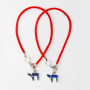 2 Red String Bracelets with Blue Chai pendants