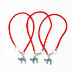 3 Red String Bracelets with Teal Chai pendants
