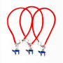 3 Red String Bracelets with Blue Chai pendants