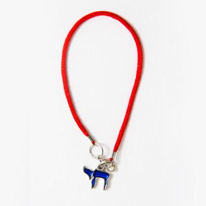 Blue Chai pendant on red string bracelet