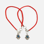 2 Red String Bracelets with Evil Eye Hamsa pendants