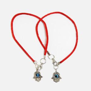 2 Red String Bracelets with Evil Eye Hamsa pendants