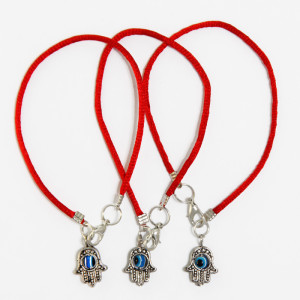 3 Red String Bracelets with Evil Eye Hamsa pendants